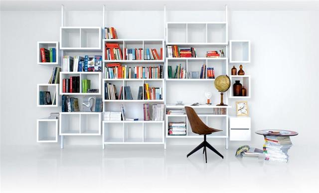 Rangement terre design syst me blanc biblioth ques for Bibliotheque bureau integre